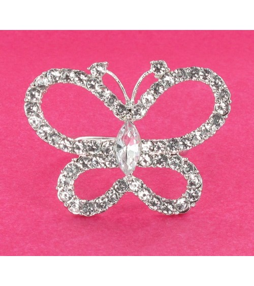 Rond de serviette papillon strass Décoration de table  ALSACESHOPPING
