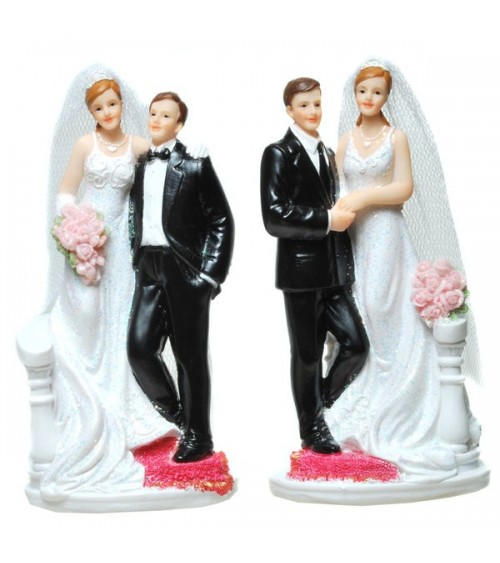 Figurine de mariés sur tapis rouge, le lot de 2 assorties Figurines de mariée ALSACESHOPPING