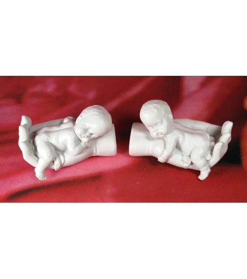 Figurine bébé dans la main, le lot de 2 statuettes Anges ALSACESHOPPING