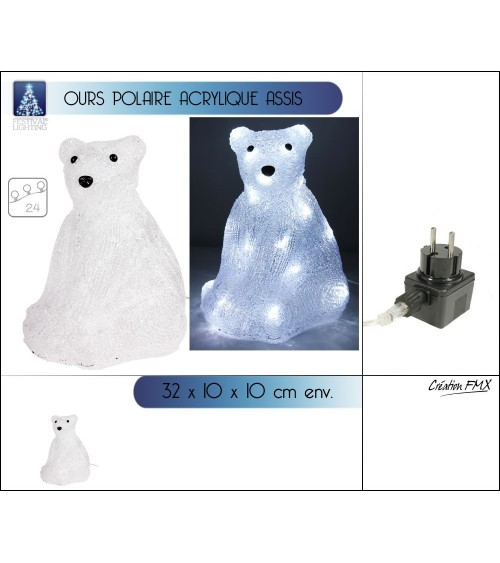 Ours polaire lumineux assis Animations et guirlandes lumineuses ALSACESHOPPING