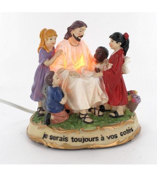 Jésus avec enfants Animations et guirlandes lumineuses ALSACESHOPPING
