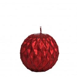 Bougie boule diamant rouge pailletée Bougies et senteurs ALSACESHOPPING