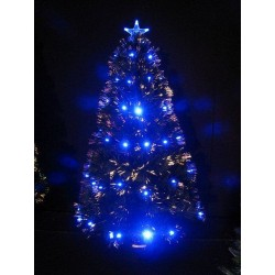 Sapin fibre optique led bleue