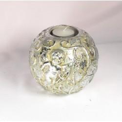 Bougeoir en céramique argent avec ange Bougies et senteurs ALSACESHOPPING