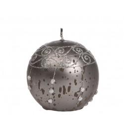 Bougie boule perles gris foncé avec strass Bougies et senteurs ALSACESHOPPING